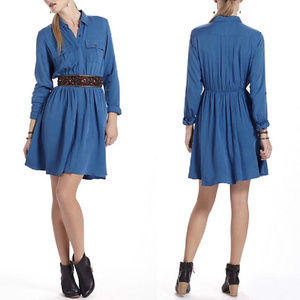 MAEVE Dakota Blue Rayon Shirt Dress XS anthro